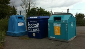 Recycling Bins at the Recycling Centre on the Shotley Road and near the Primary School in Chelmondiston